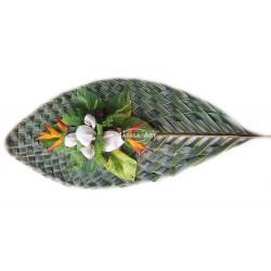 Palme tissée (Mousse + feuillage + fleurs)