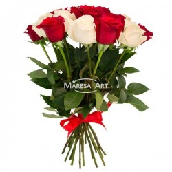 Bouquet de roses rouges & blanches