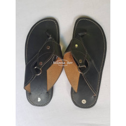 Grayish leather slipper