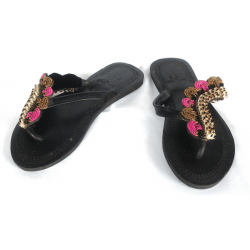 Leather woman slipper